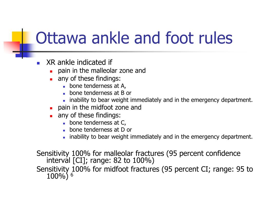 Ottawa ankle and foot rules