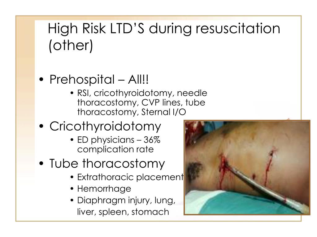High Risk LTD'S during resuscitation