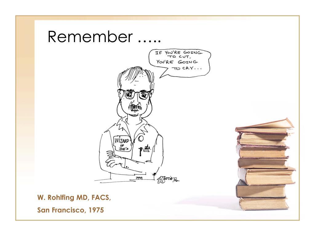 Remember …..