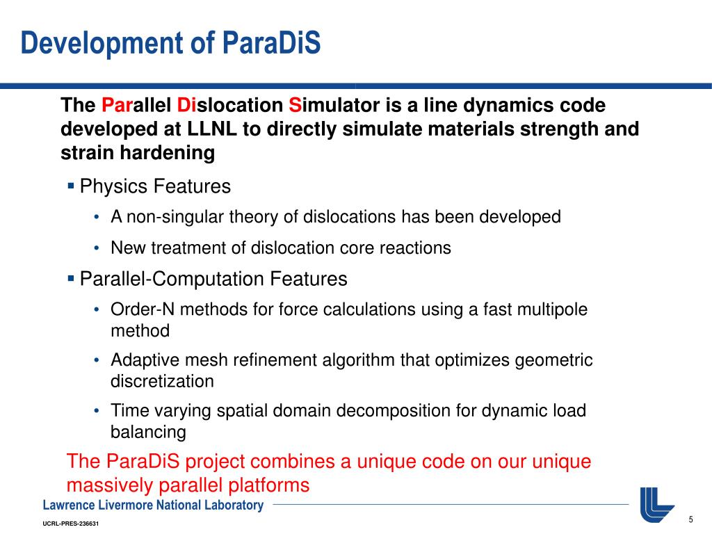 Development of ParaDiS