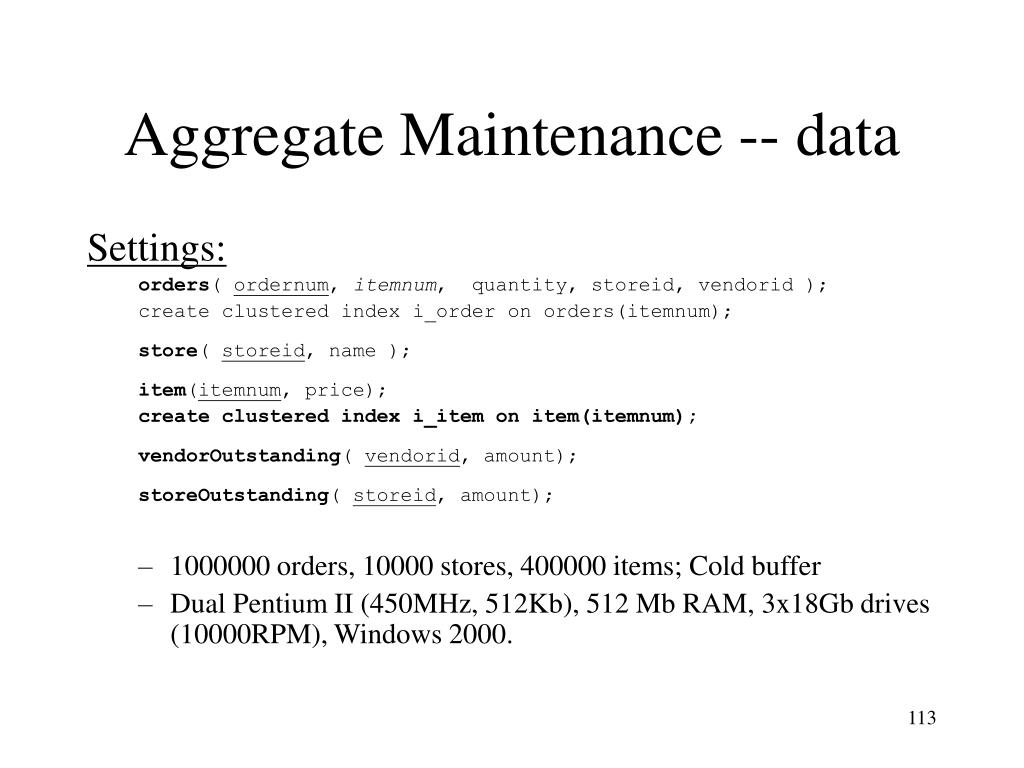 Aggregate Maintenance -- data