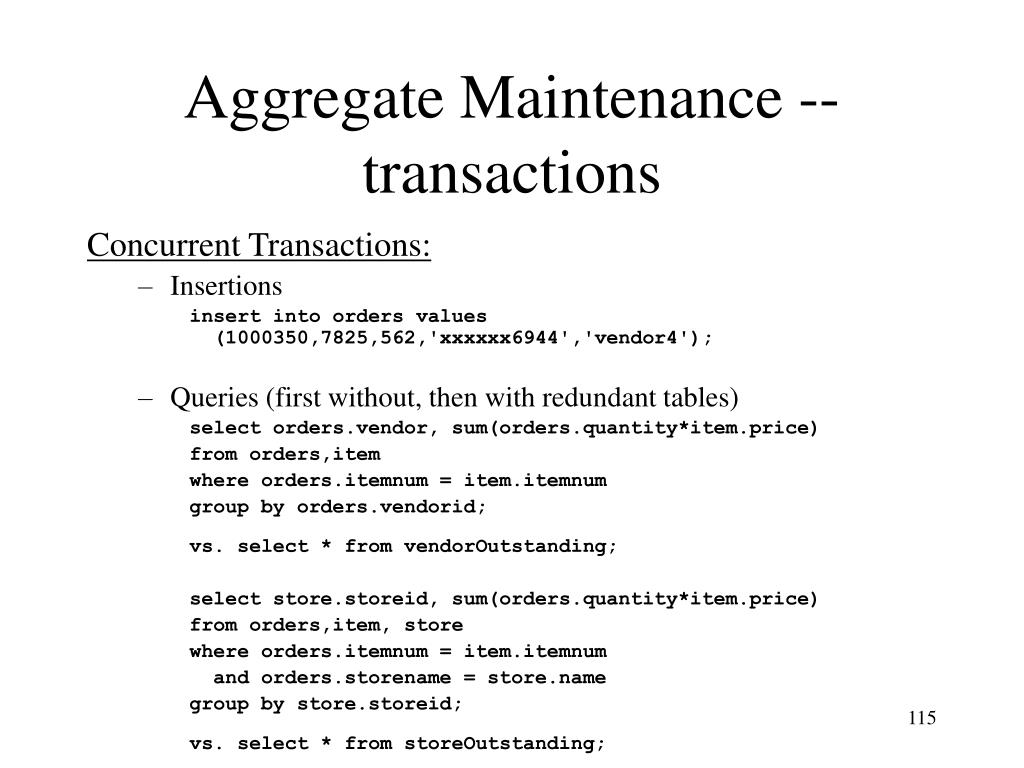 Aggregate Maintenance -- transactions