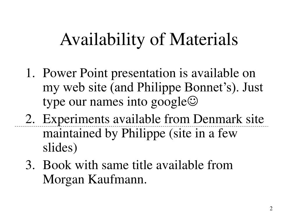 Availability of Materials