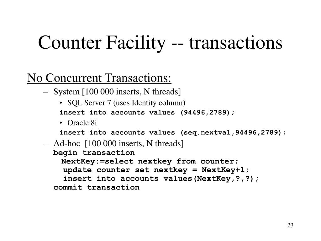 Counter Facility -- transactions
