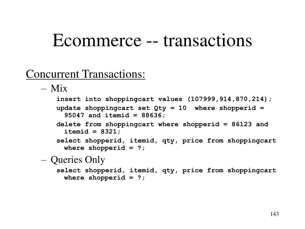 Ecommerce -- transactions