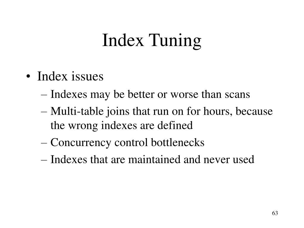 Index Tuning