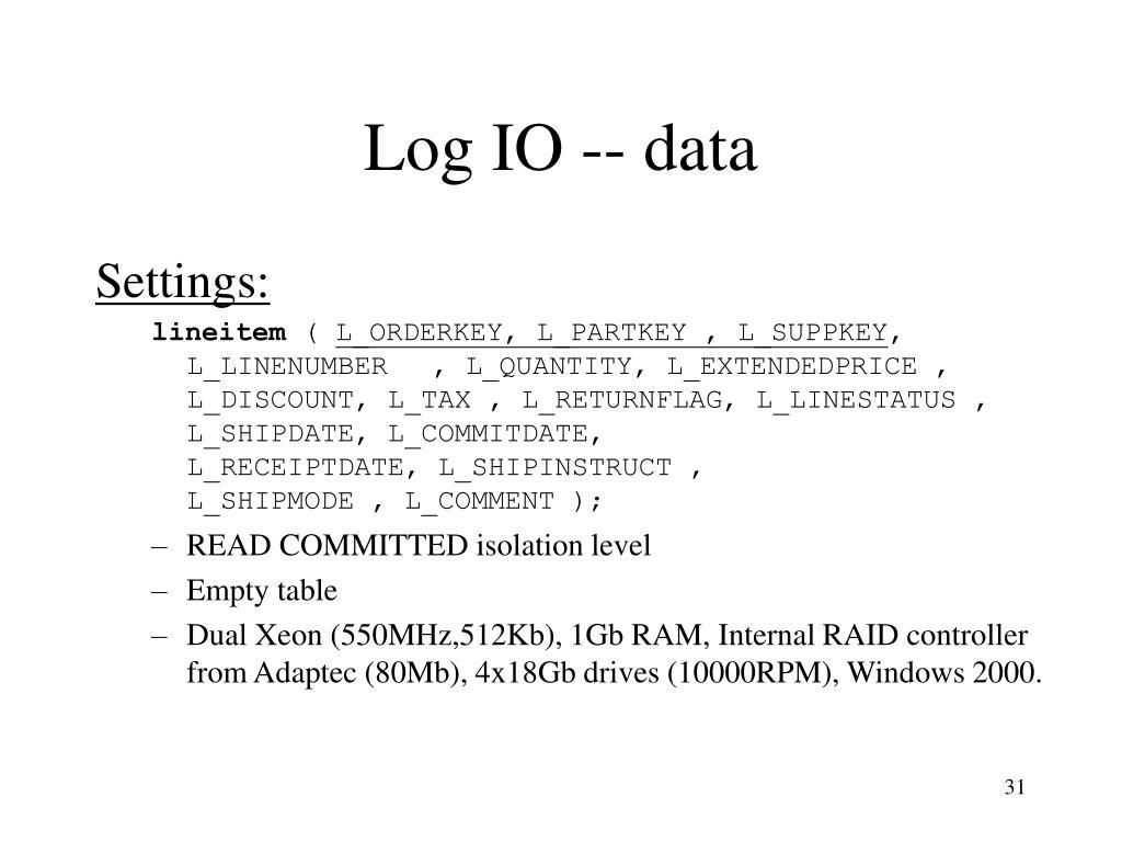 Log IO -- data