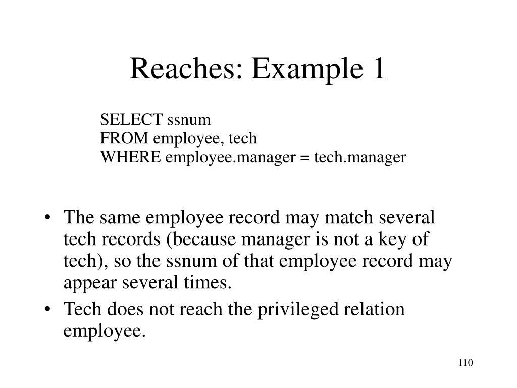 Reaches: Example 1