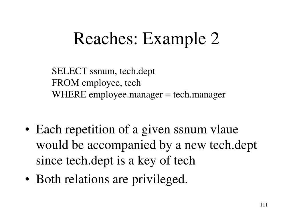 Reaches: Example 2