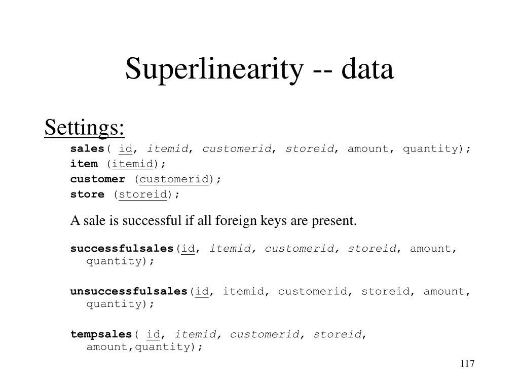 Superlinearity -- data