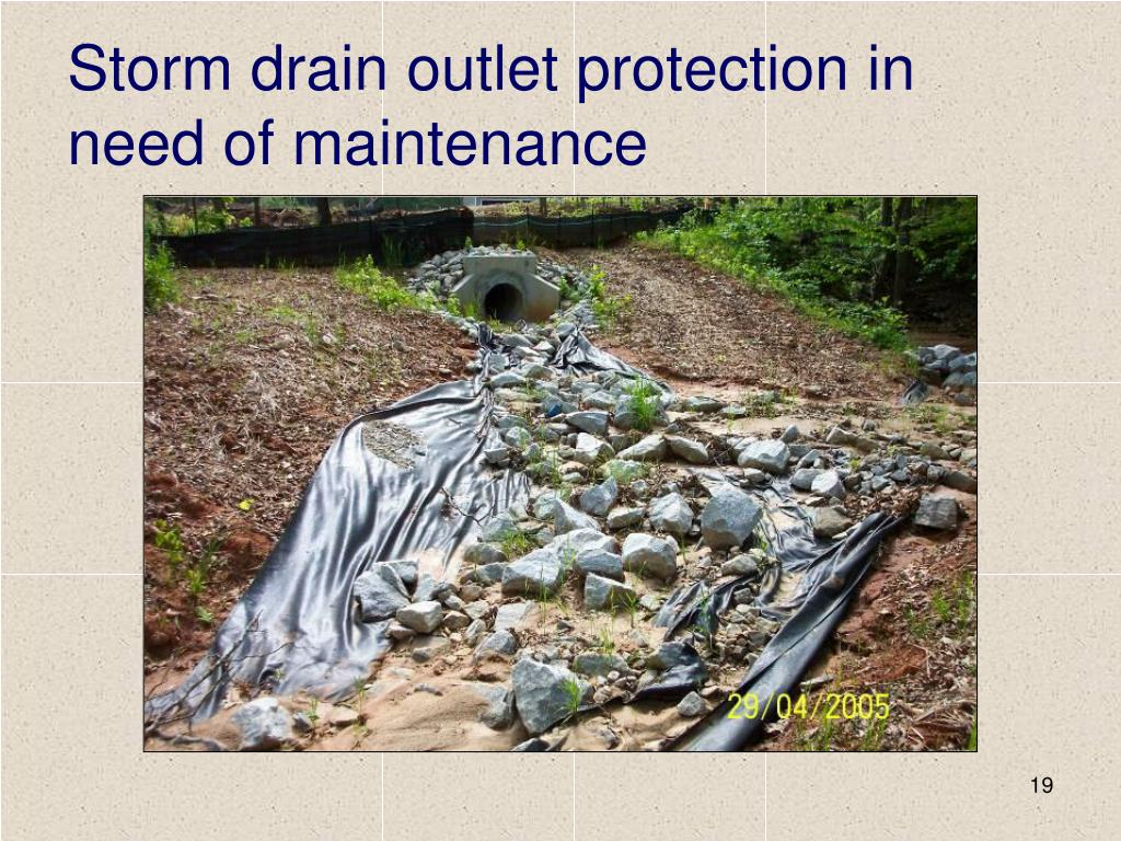 Storm drain outlet protection in need of maintenance