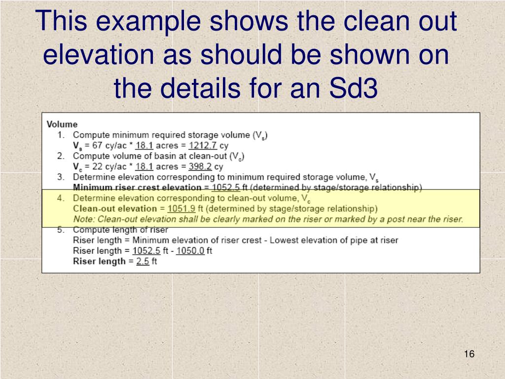 This example shows the clean out elevation as should be shown on the details for an Sd3