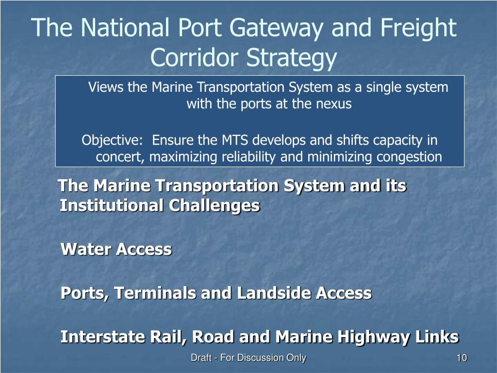 The National Port Gateway and Freight Corridor Strategy