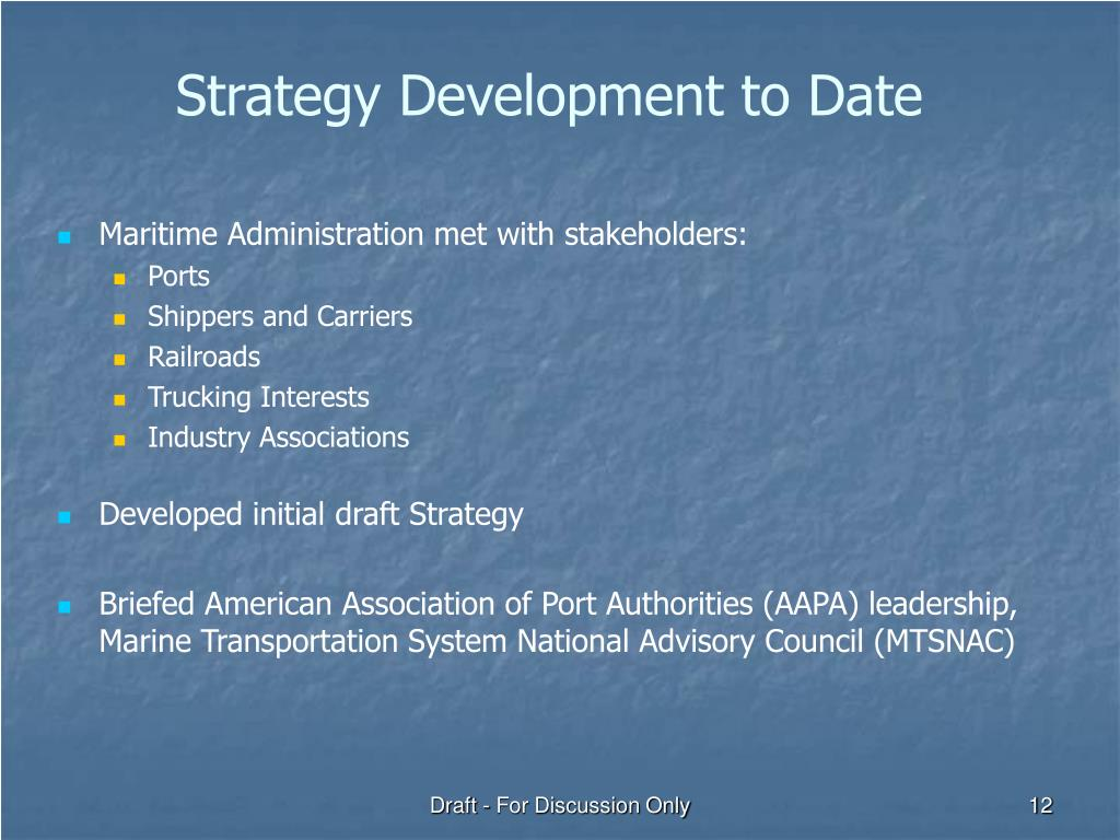 Strategy Development to Date