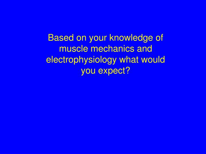 Based on your knowledge of muscle mechanics and electrophysiology what would you expect?