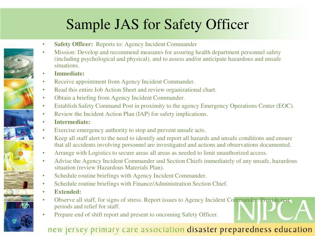 Sample JAS for Safety Officer