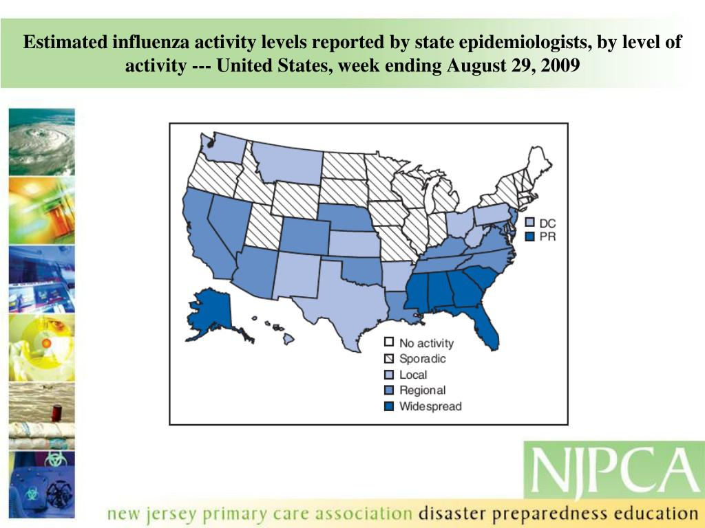 Estimated influenza activity levels reported by state epidemiologists, by level of activity --- United States, week ending August 29, 2009