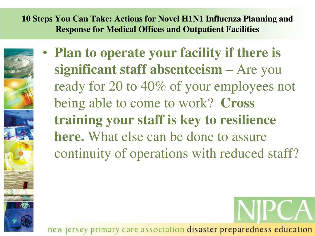 10 Steps You Can Take: Actions for Novel H1N1 Influenza Planning and Response for Medical Offices and Outpatient Facilities