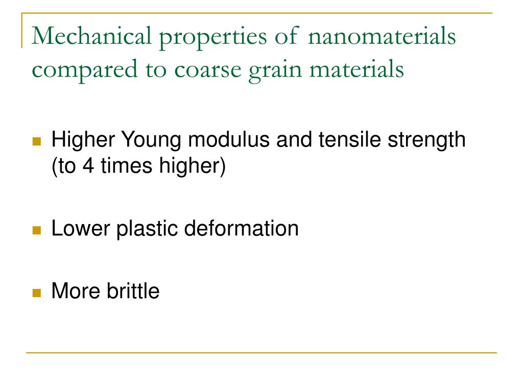 Mechanical properties of nanomaterials compared to coarse grain materials