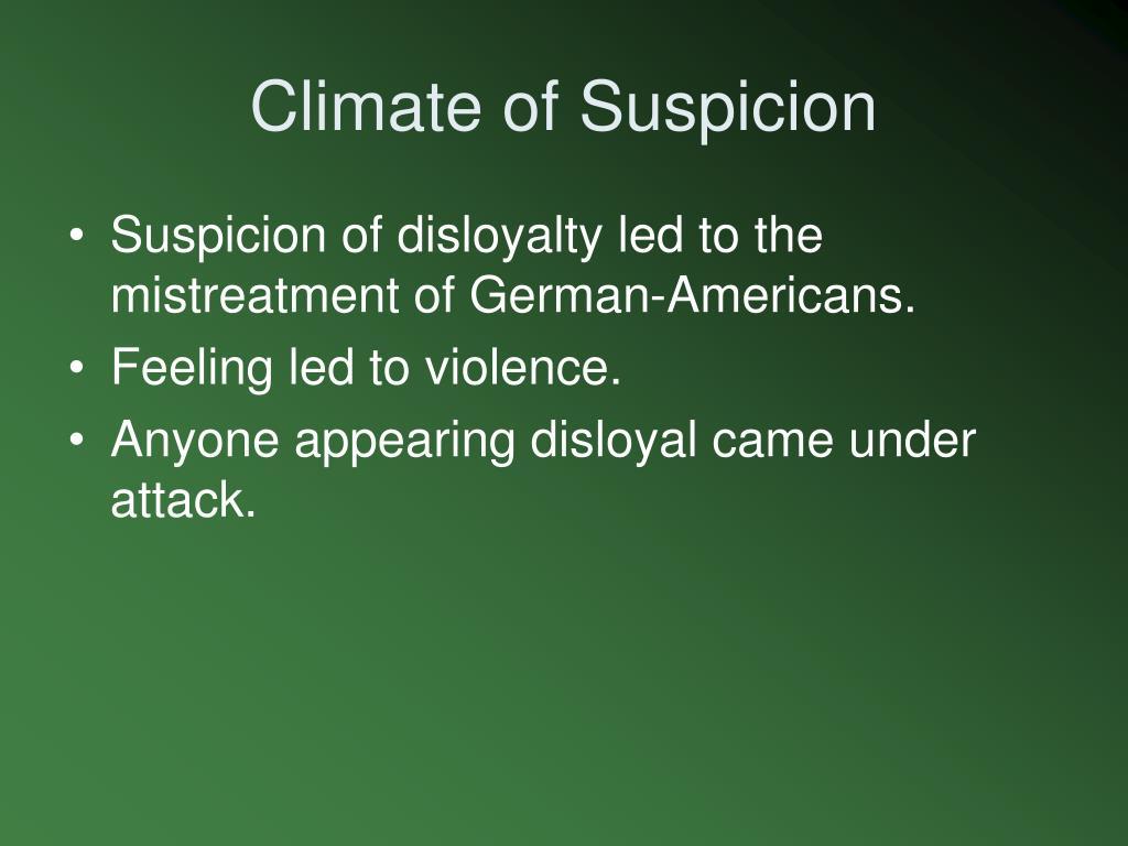 Climate of Suspicion