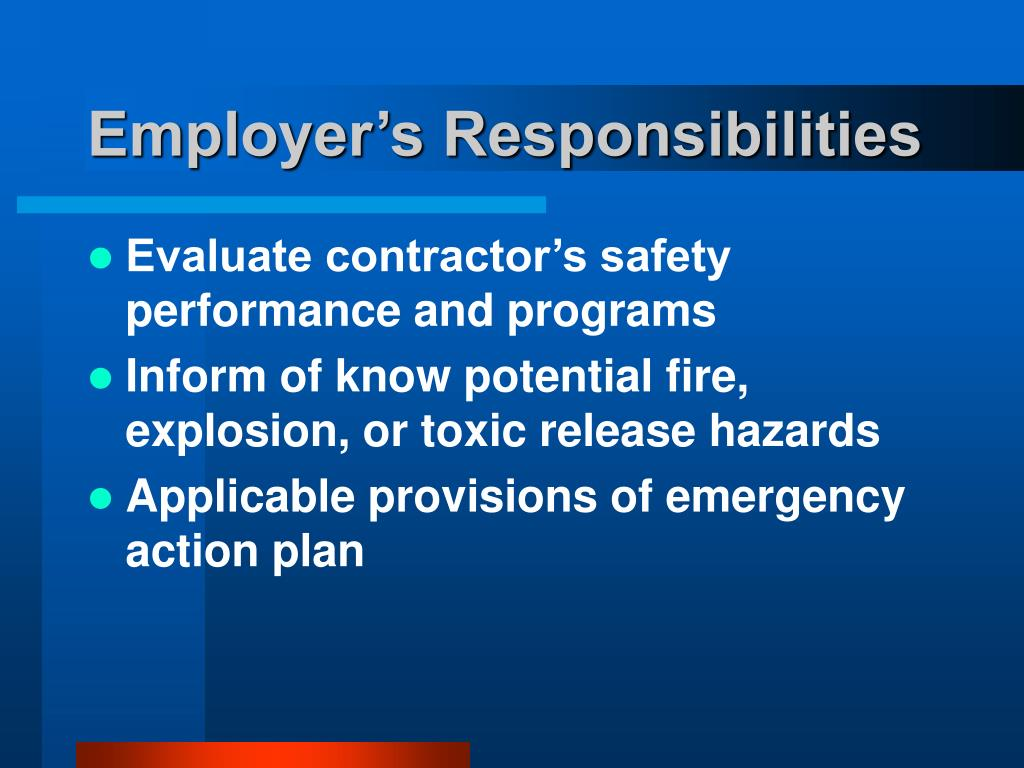 Employer's Responsibilities