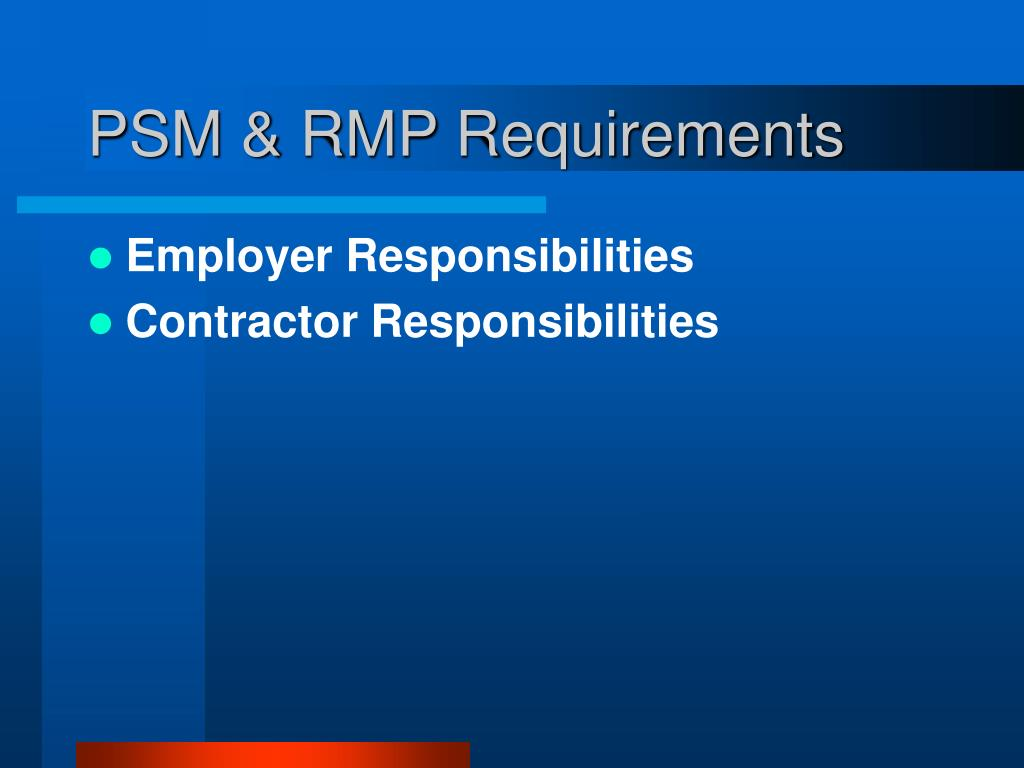 PSM & RMP Requirements