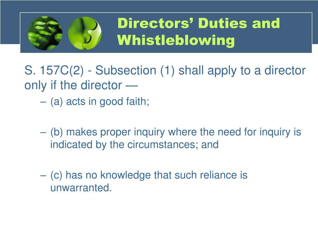 Directors' Duties and Whistleblowing