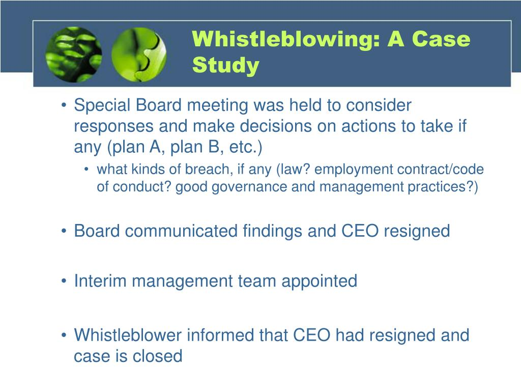 Whistleblowing: A Case Study