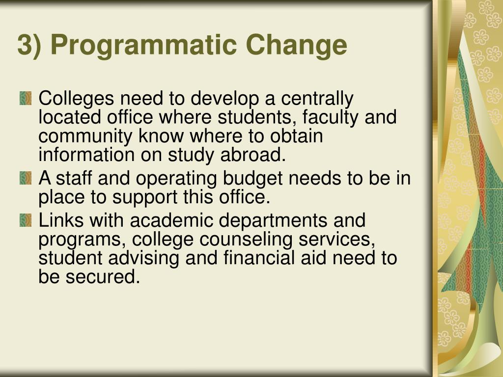 3) Programmatic Change