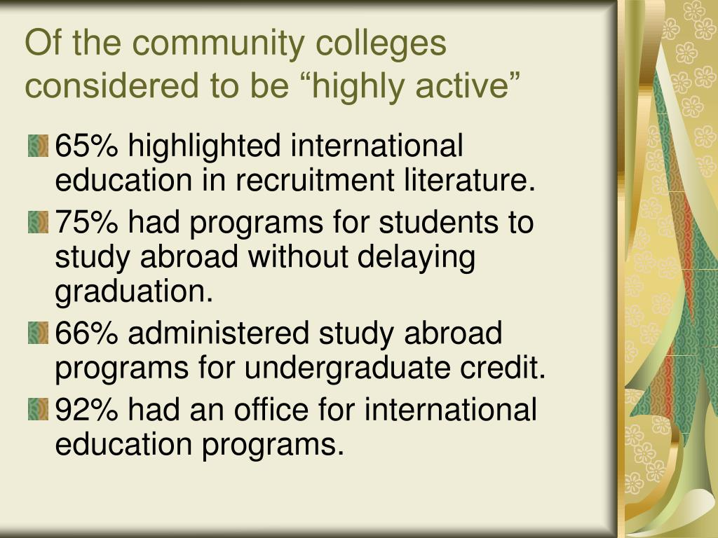 """Of the community colleges considered to be """"highly active"""""""