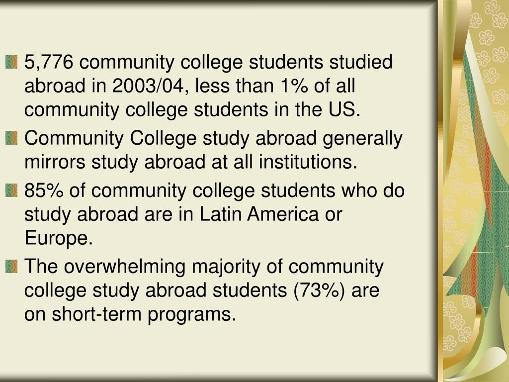 5,776 community college students studied abroad in 2003/04, less than 1% of all community college students in the US.