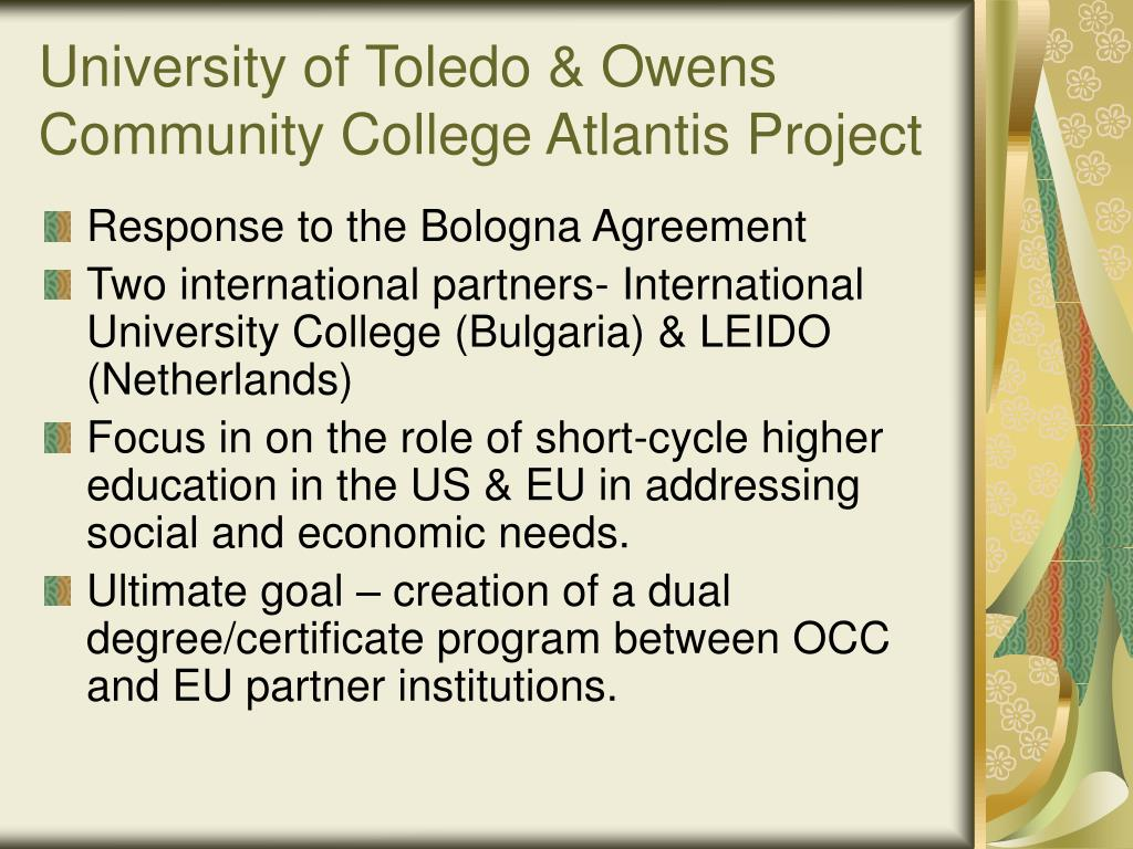 University of Toledo & Owens Community College Atlantis Project