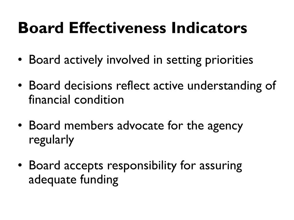Board Effectiveness Indicators