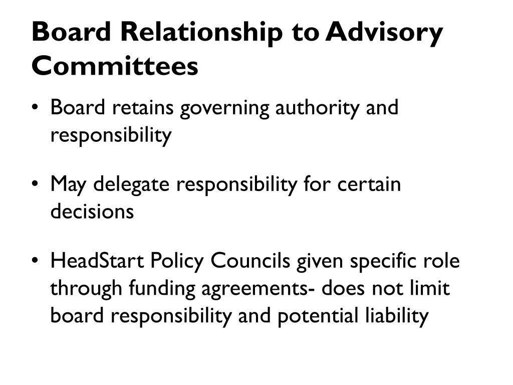 Board Relationship to Advisory Committees