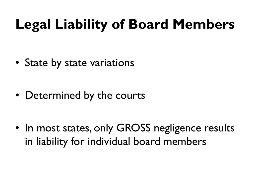 Legal Liability of Board Members