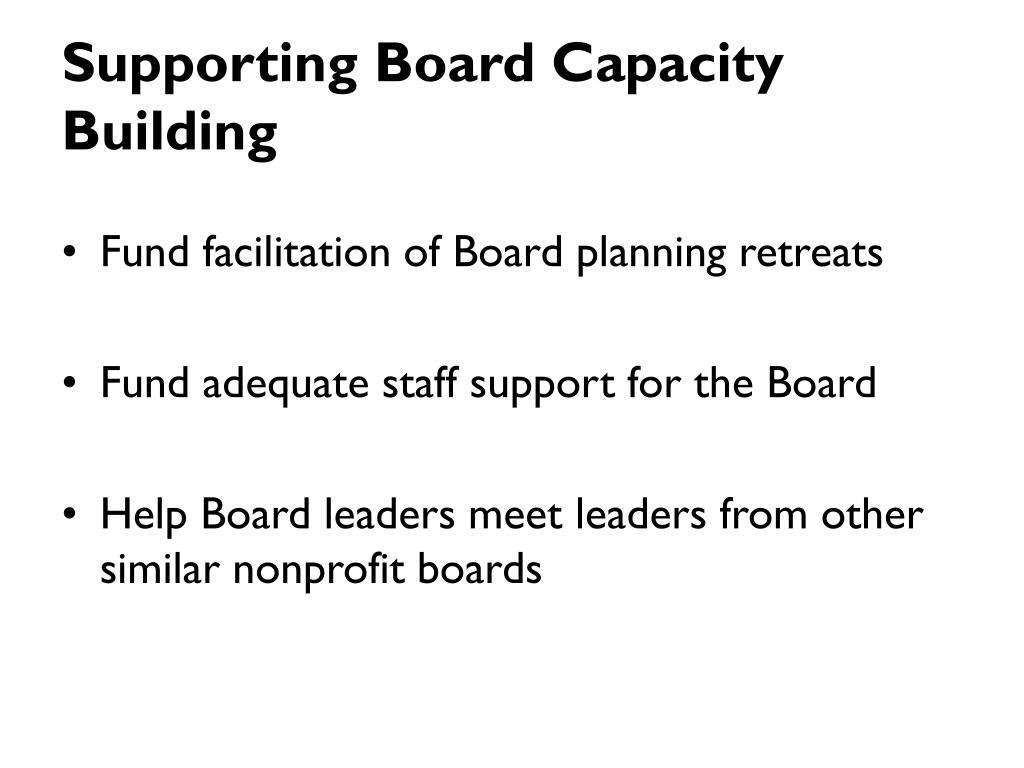 Supporting Board Capacity Building