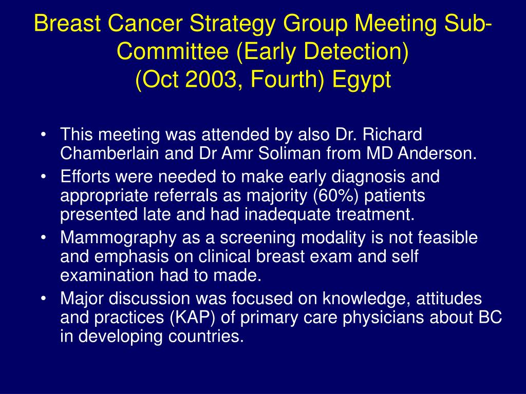 Breast Cancer Strategy Group Meeting Sub-Committee (Early Detection)