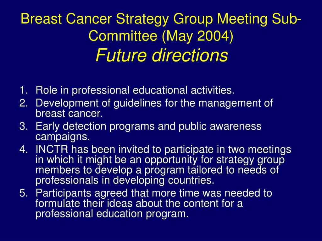 Breast Cancer Strategy Group Meeting Sub-Committee (May 2004)