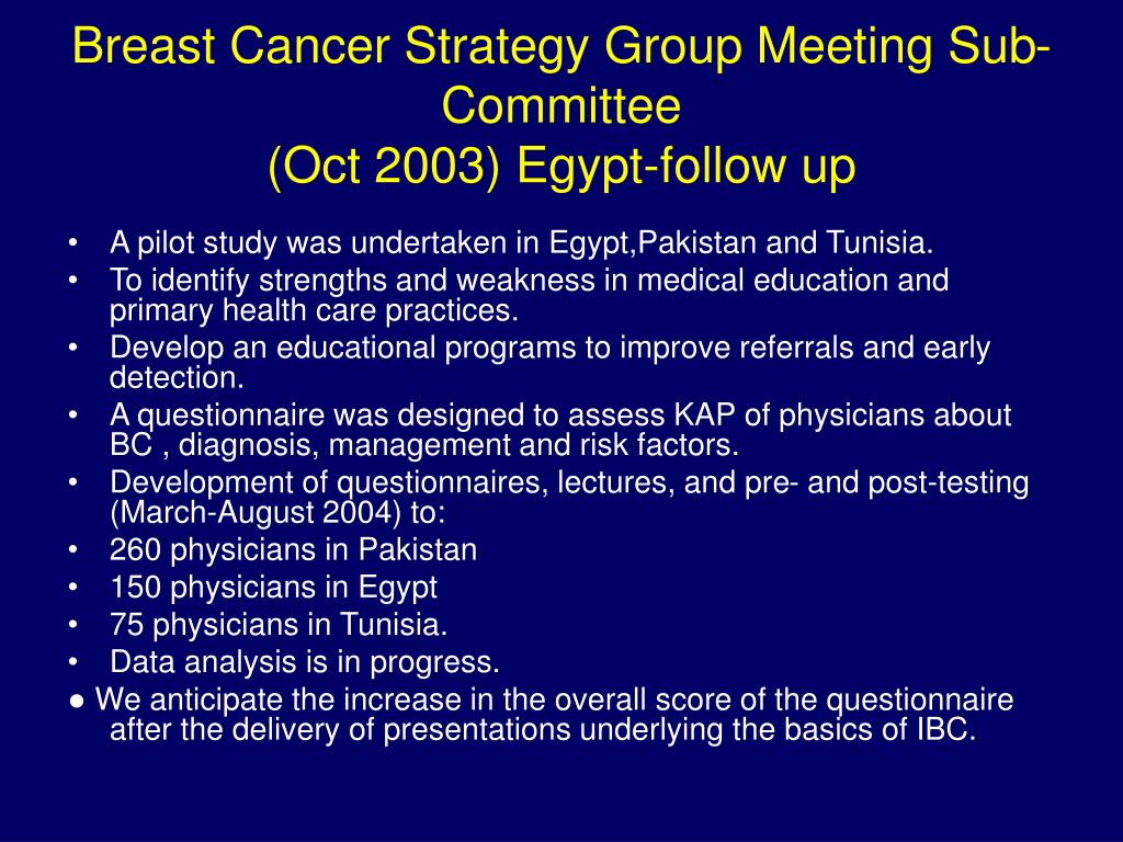 Breast Cancer Strategy Group Meeting Sub-Committee