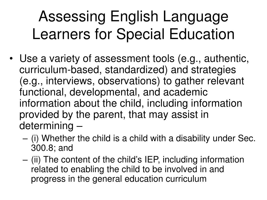 Assessing English Language Learners for Special Education