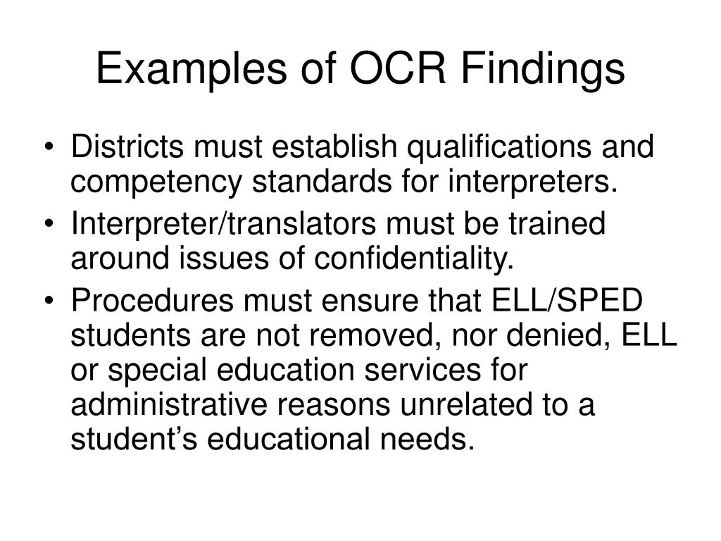 Examples of OCR Findings