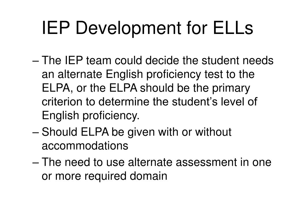 IEP Development for ELLs