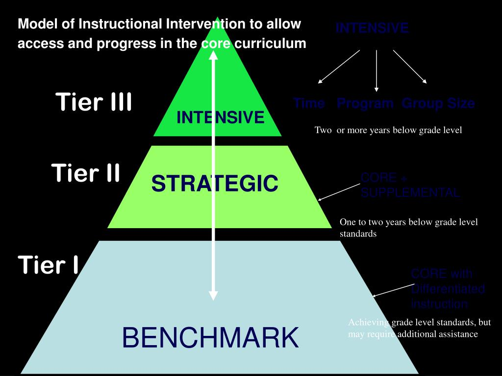Model of Instructional Intervention to allow access and progress in the core curriculum
