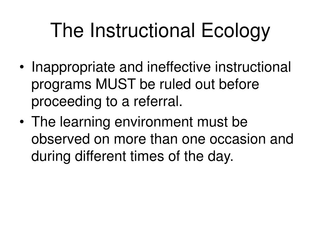 The Instructional Ecology