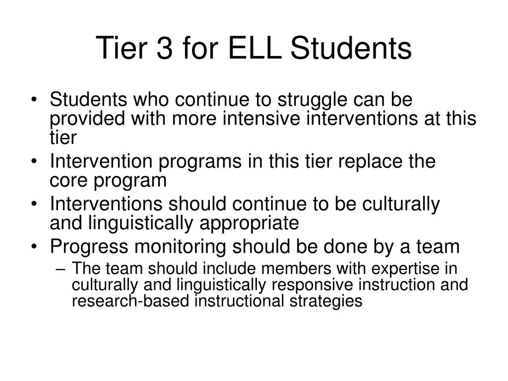 Tier 3 for ELL Students