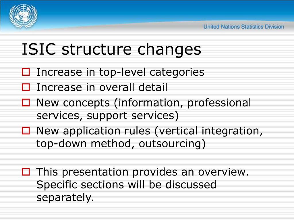 ISIC structure changes
