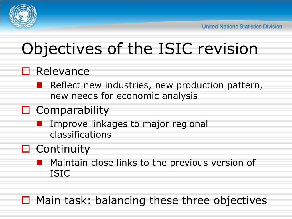 Objectives of the ISIC revision
