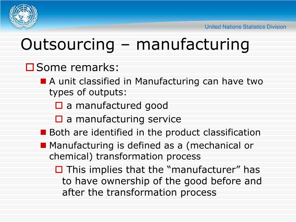 Outsourcing – manufacturing
