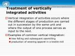 treatment of vertically integrated activities