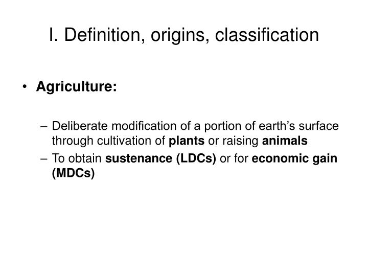 I definition origins classification
